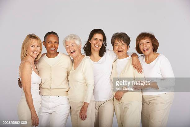 group of mature and senior women, smiling, portrait - nur frauen stock-fotos und bilder