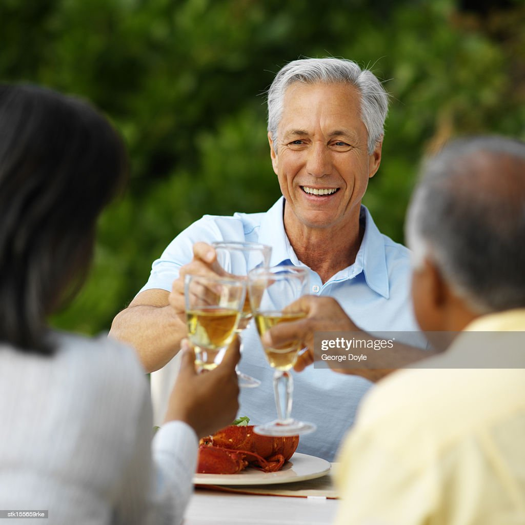 group of mature friends toasting wine at an outdoor meal stock photo