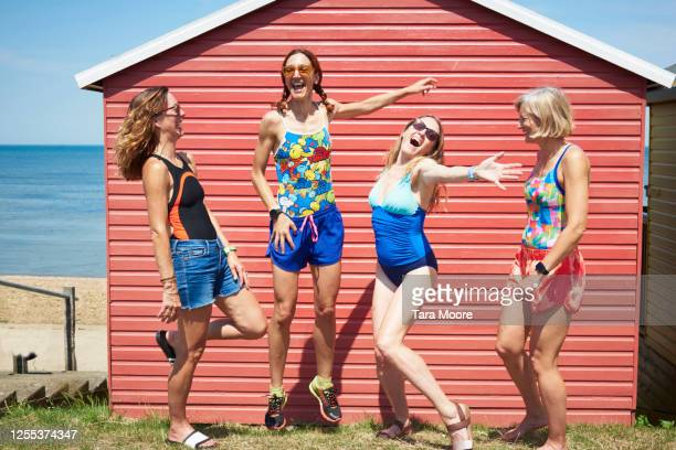 group of mature women in swimwear - multi coloured stock pictures, royalty-free photos & images