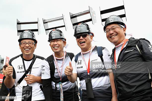 A group of McLaren Honda fans in the fan zone before the Formula One Grand Prix of Japan at Suzuka Circuit on October 9 2016 in Suzuka