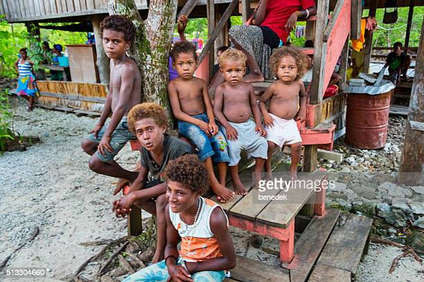 Group of Melanesian Children Malaita Island Solomon Islands
