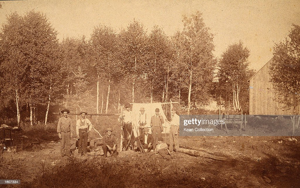 A group of members of the Ku Klux Klan pose at their 'Petite Bostonais' campsite, August 1893.