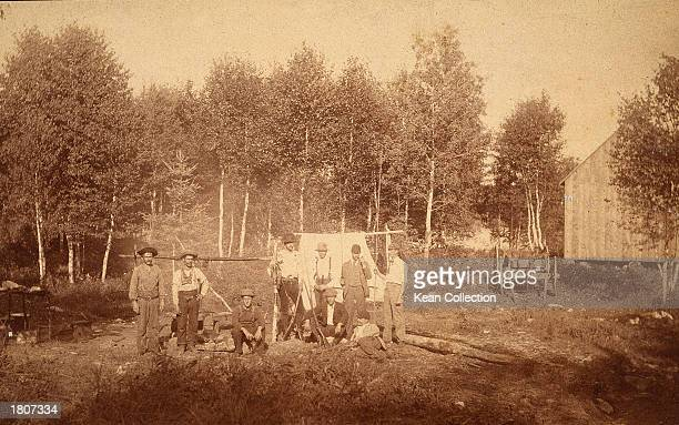 A group of members of the Ku Klux Klan pose at their 'Petite Bostonais' campsite August 1893