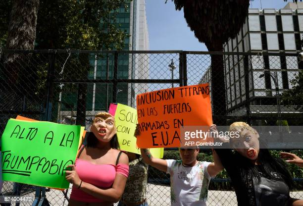 Group of members of the transgender community hold a protest against the recent proposal of US President Donald Trump to prohibit transgender people...