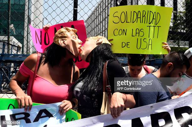A group of members of the transgender community hold a protest against the recent proposal of US President Donald Trump to prohibit transgender...