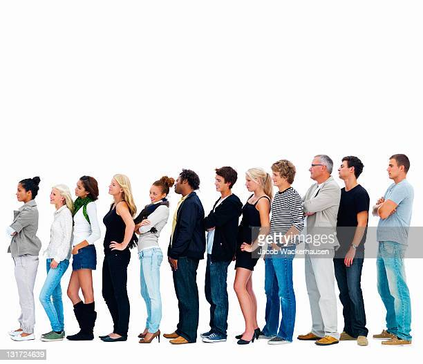group of men and women in a row - lining up stock pictures, royalty-free photos & images