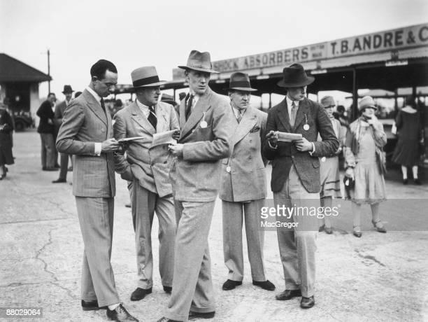 A group of men at a motor racing event at Brooklands Surrey 24th May 1926