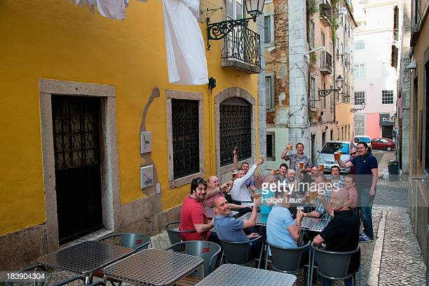 Group of men at stag party in Bairro Alto