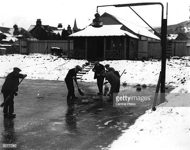 Group of men curling at Aberfeldy. The precise origins of curling are unclear but the game was certainly being played in Scotland by the 16th century...