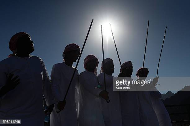 A group of men during a traditional dance at the Hatta Dam the arrival place of the 172km The Westin Stage of Tour of Dubai 2016 Hatta Dam UAE Friday...