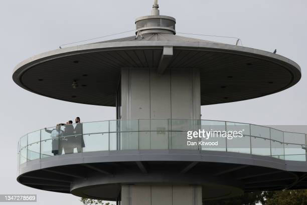 Group of men look from a viewpoint out to sea on October 18, 2021 in Southend, England. The campaign to make Southend-on-Sea a city was a cause long...