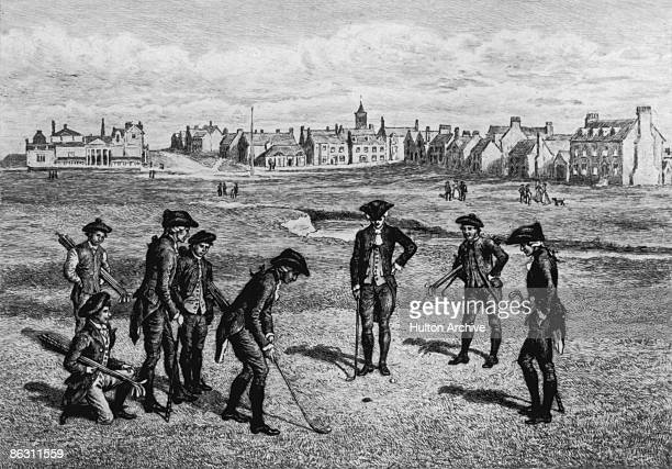 A group of men playing golf at the Royal and Ancient Golf Club of St Andrews Fife Scotland 1798