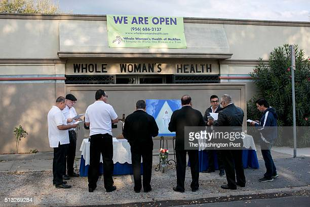 Group of men prayed outside the clinic on Saturday. Whole Woman's Health of McAllen clinic remains open after HB2, a 2013 Texas law that requires...