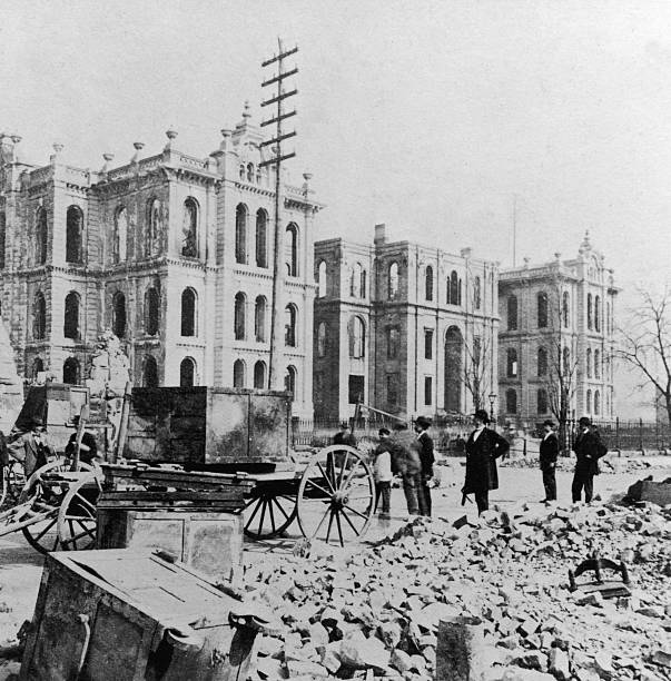 Chicago Courthouse After Fire, IL, 1871.  Wall Art