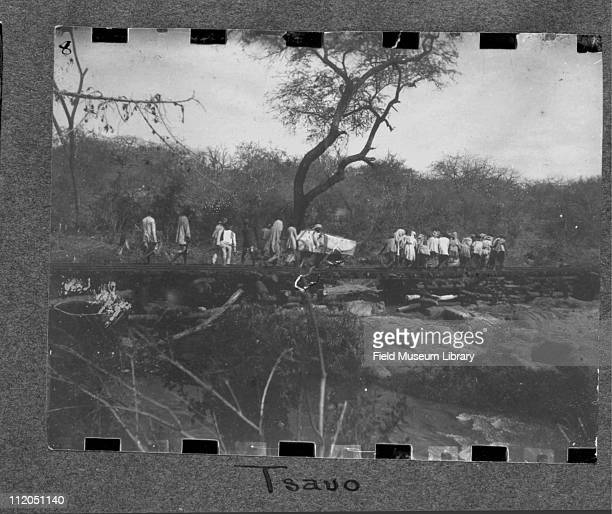 A group of men walk along Tsavo railroad tracks Kenya late 1890s It was in this area that a pair of maneating lions had attacked both residents and...