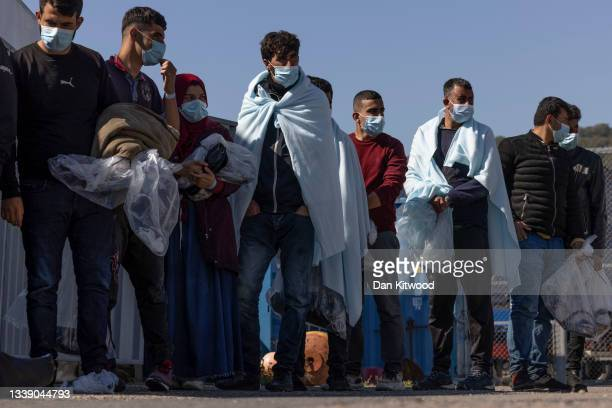 Group of migrants are brought into Dover docks by Border Force on September 8, 2021 in Dover, England. The week has seen a major increase in migrant...