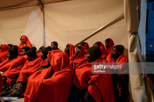 A group of migrants being attended by the Red Cross team at the Malaga's port Malaga The Maritime Spanish Vessel SAR Mastelero rescued three dinghies...