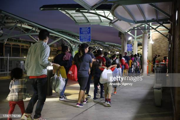 Group of migrants from Honduras, Guatemala and El Salvador arrives at a bus terminal in the U.S. After crossing the Rio Grande river from Mexico...