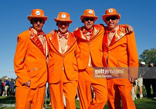 A group of Mike Weir fans get dressed up for the Saturday afternoon fourball round of competition for The Presidents Cup on September 29 at The Royal...