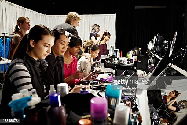 Group of models backstage before fashion show