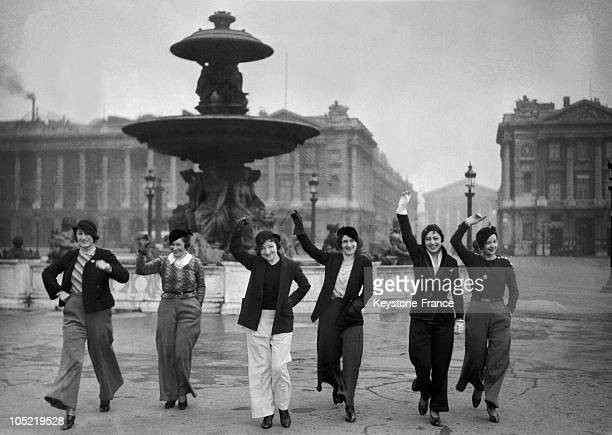 Group of models in the Place de la Concorde showing off their flared trousers - the latest in Paris fashion trends, 21st February 1933.
