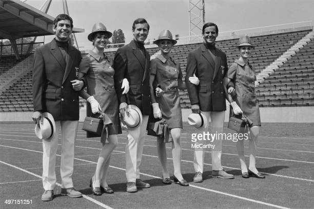 A group of models wearing uniforms designed by Hardy Amies to be worn by British athletes in the parade at the 1968 Olympic Games in Mexico City 11th...
