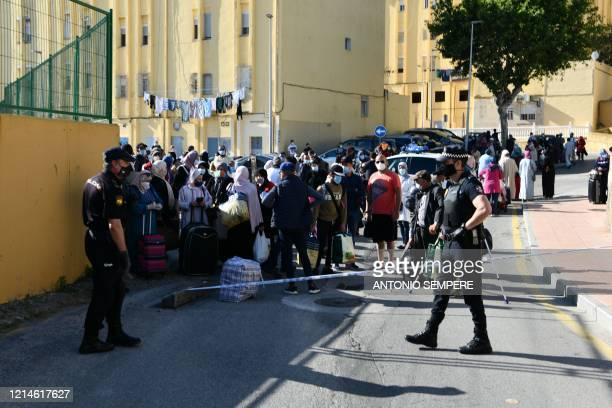 Group of Moroccan citizens stranded in Spain due to the coronavirus crisis, is not allowed to be repatriated, on May 22 in the Spanish enclave of...