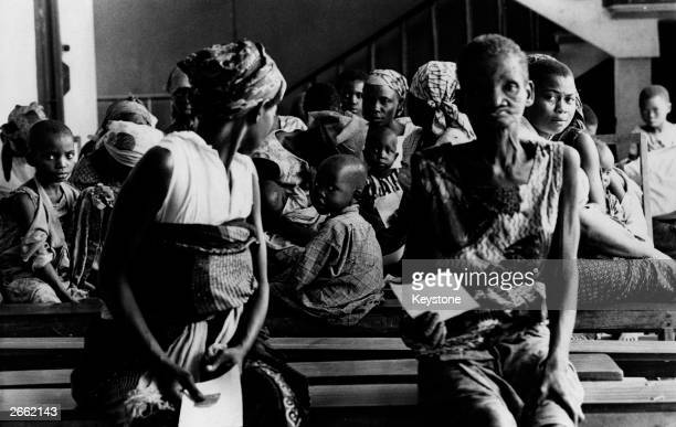 A group of mothers and their babies at the Enugu Civilian Hospital Biafra during the famine resulting from the Biafran War