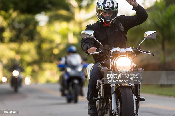 Group of motorcyclists on the road to motorcycle festival