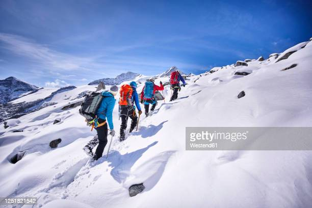 group of mountaineers, grossvendediger, tyrol, austria - mountaineering stock pictures, royalty-free photos & images