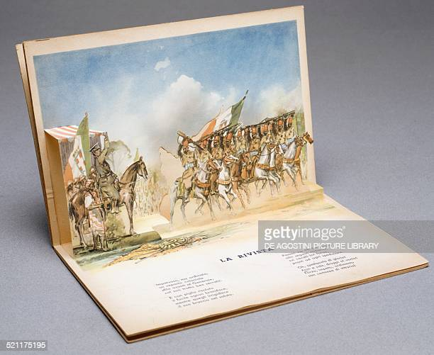 A group of mounted Ascari parading in front of Benito Mussolini threedimensional illustration from the children's book I nostri soldati Mediterranean...