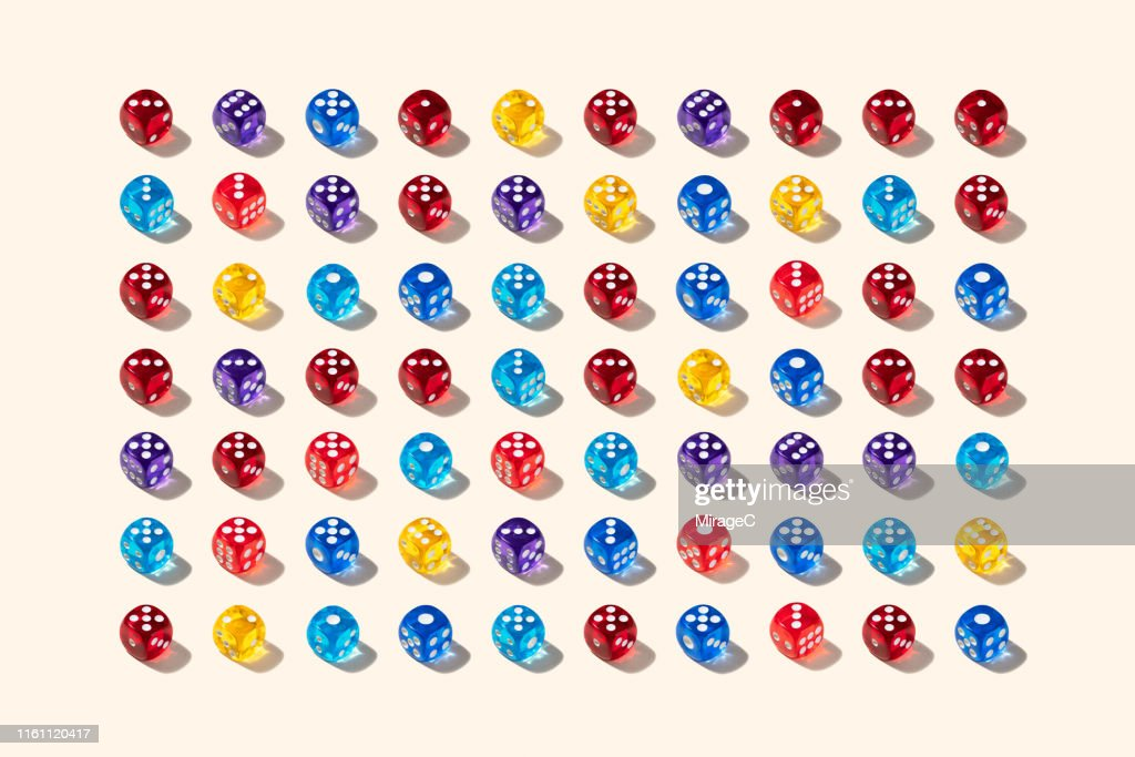 Group of Multi Colored Dices : Stock Photo