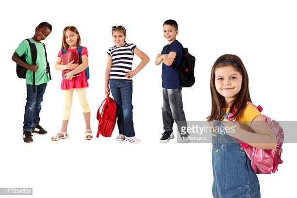 Group of multi ethnic children with backpacks