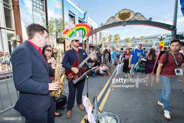 A group of musicians entertain the crowds in the Gaslamp District at ComicCon International on July 21 2018 in San Diego California