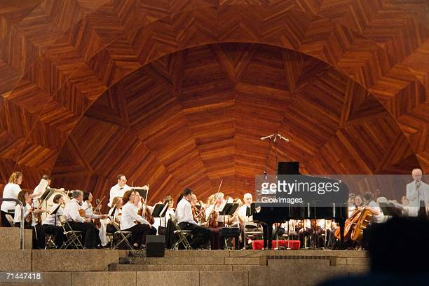 Group of musicians on stage, Boston, Massachusetts, USA