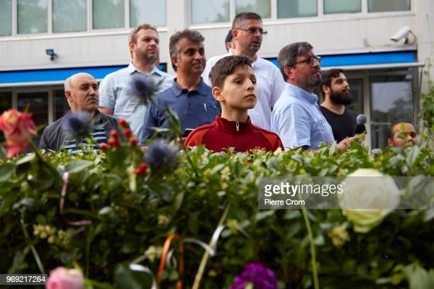 A group of muslim men wait for antiislam group Pegida on June 7 2018 in Rotterdam NetherlandsThe antiislam group Pegida cancelled an event to roast...