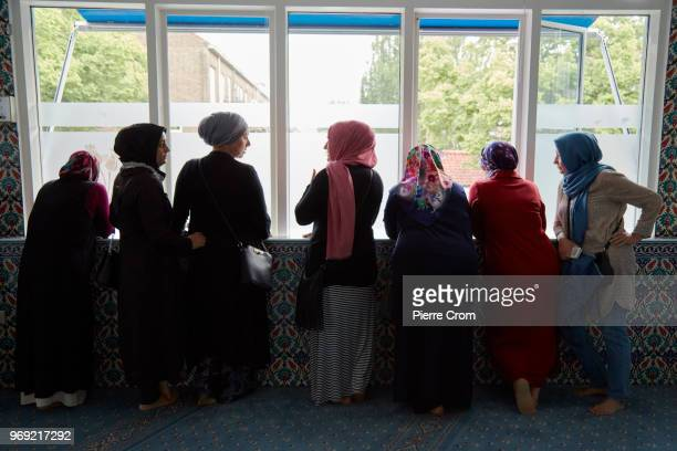 A group of muslim women wait inside the Laleli mosque for antiislam group Pegida on June 7 2018 in Rotterdam NetherlandsThe antiislam group Pegida...