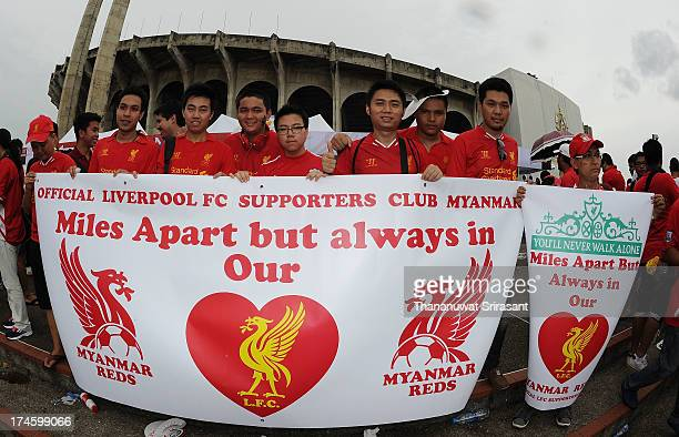 Group of Myanmar Liverpool FC fans attend the international friendly match between Thailand and Liverpool at Rajamangala Stadium on July 28, 2013 in...