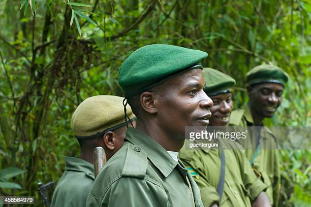 group of national park rangers, kahuzi biega, south kivu, congo - democratic republic of the congo stock photos and pictures
