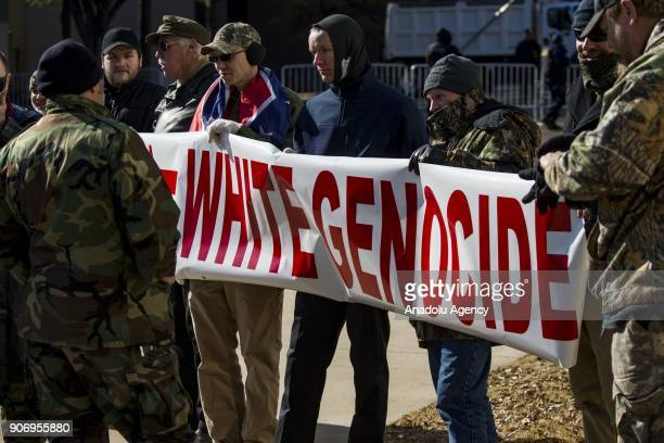 A group of neoNazis hold up a banner to protest the removal of two Confederate monuments by the city in Memphis Tennessee United States on January 06...