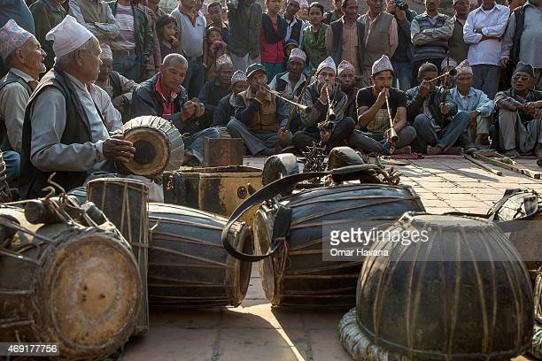 A group of Nepalese musicians play traditional music during the first day of the Bisket Jatra festival on April 10 2015 in Bhaktapur Nepal The Bisket...