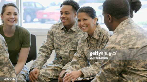 group of new military recruits in classroom training - veteran stock pictures, royalty-free photos & images