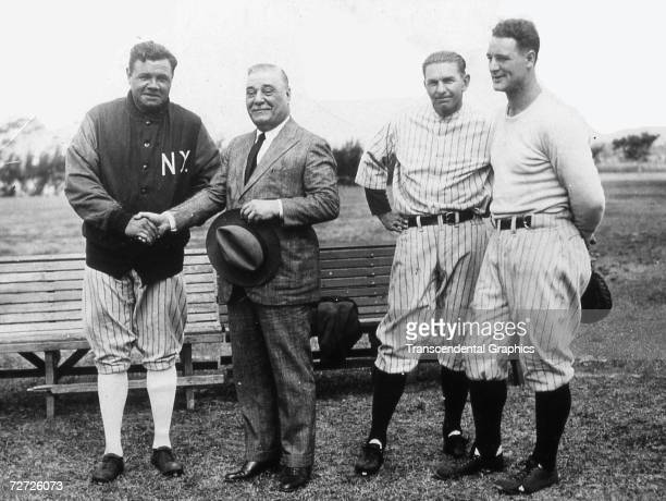 ST PETERSBURG FLORIDA MARCH 1925 A group of New York Yankees pose at spring training camp in St Petersburg Florida in March of 1925 They are Babe...
