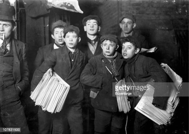 Group of Newsboys on Frankfort Street near World Building