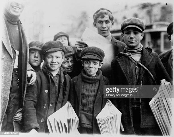 A group of newspaper boys on Main Street in Buffalo New York February 1910