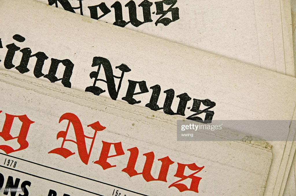 Group Of Newspapers With Old Yellow Pages Stock Photo Getty Images