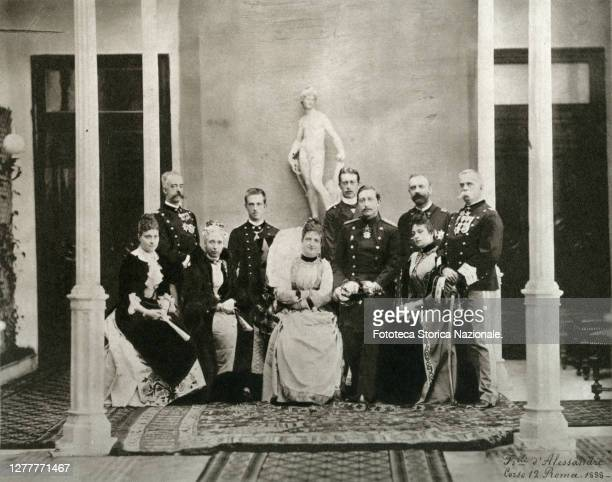 Group of nobles at the Quirinale, from left to right: the duchess consort Isabella of Genoa born Isabella of Baviera ; the Duke Amedeo I of Aosta ,...
