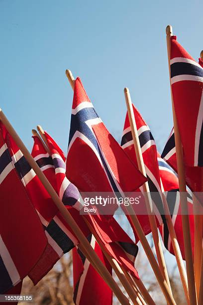 group of norwegian flag in red white and blue. - norwegian flag stock pictures, royalty-free photos & images