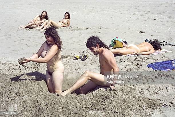 Group of nudists in the beach of Morouzos Ortigueira A Coruna Rias Altas Galicia