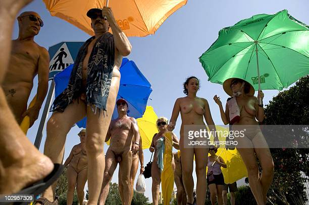 A group of nudists protest to demand the right to walk around naked and call for respect on July 18 2010 in Vera near Almeria AFP PHOTO/JORGE GUERRERO